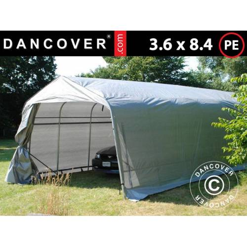 Dancover Zeltgarage Lagerzelt Garagenzelt PRO 3,6x8,4x2,68m PE, Grau