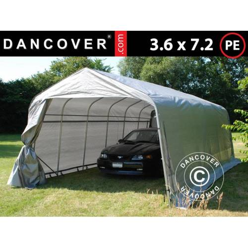 Dancover Zeltgarage Lagerzelt Garagenzelt PRO 3,6x7,2x2,68m PE, Grau