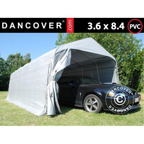 Dancover Zeltgarage Lagerzelt Garagenzelt PRO 3,6x8,4x2,68m PVC, Grau