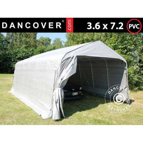 Dancover Zeltgarage Lagerzelt Garagenzelt PRO 3,6x7,2x2,68m PVC, Grau