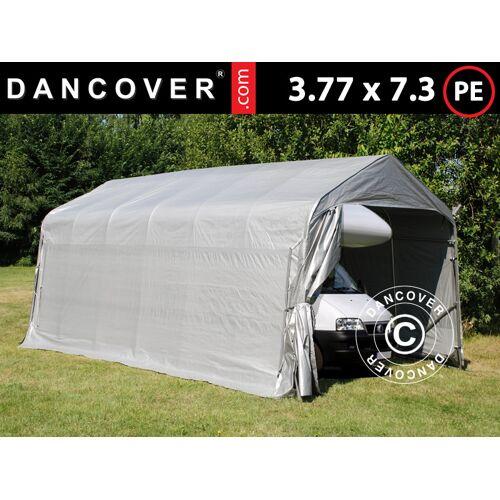 Dancover Zeltgarage Lagerzelt Garagenzelt PRO 3,77x7,3x3,18m PE, Grau