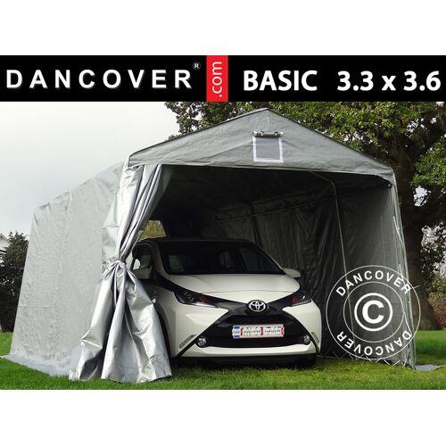 Dancover Zeltgarage Lagerzelt Garagenzelt Basic 3,3x3,6x2,4m PE, grau