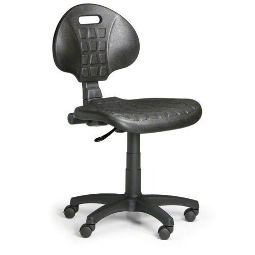 B2B Partner Arbeitsstuhl aus pu-schaum, grau, dauerkontakt, für weiche böden