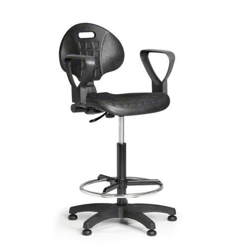 B2B Partner Arbeitsstuhl aus pu-schaum mit armlehnen, dauerkontakt, gleiter