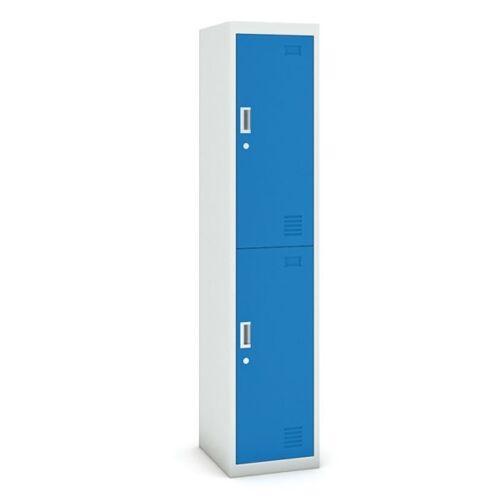 B2B Partner Zweitüriger schrank, 1800 x 380 x 450 mm, grau/blau