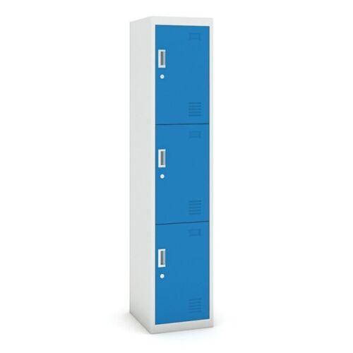 B2B Partner Dreitüriger schrank, zylinderschloss, 1800 x 380 x 450 mm, grau/blau