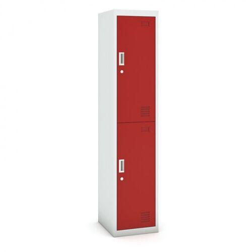 B2B Partner Zweitüriger schrank, 1800 x 380 x 450 mm, grau/rot