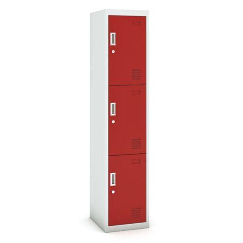 B2B Partner Dreitüriger schrank, zylinderschloss, 1800 x 380 x 450 mm, grau/rot