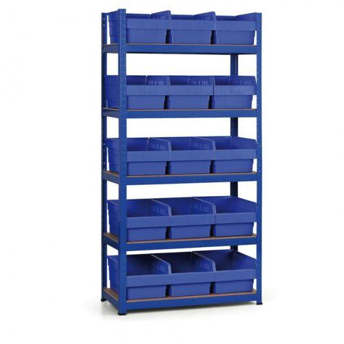 B2B Partner Regale mit kunstoffboxen 1800x900x400 mm, mdf fachböden, boxen 15x c