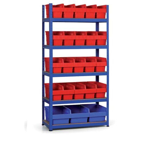 B2B Partner Regale mit kunstoffboxen 1800x900x400 mm, mdf fachböden, boxen 20x a,