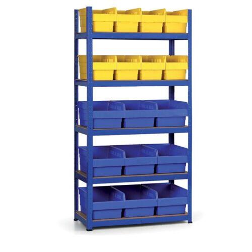 B2B Partner Regal mit kunstoffboxen 1800x900x400 mm, mdf fachböden, boxen 8x b, 9x