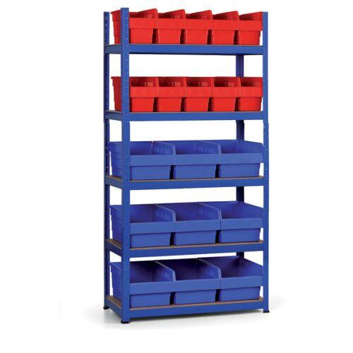 B2B Partner Regale mit kunstoffboxen 1800x900x400 mm, mdf fachböden, boxen 10x a,