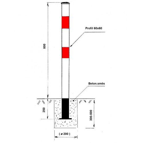 B2B Partner Parkplatzsperre - pfosten, nicht klappbar, zum einbetonieren, weiß