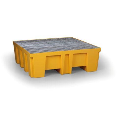 B2B Partner Kunststoffwanne mit stahlgitter für 4 fässer, 488 l