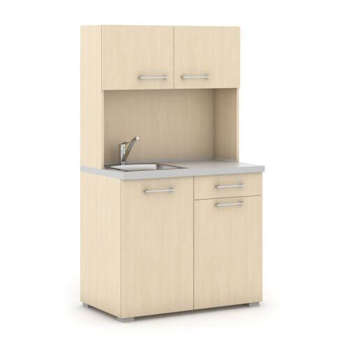 B2B Partner Büroküche primo mit spülbecken und mischbatterie, birke