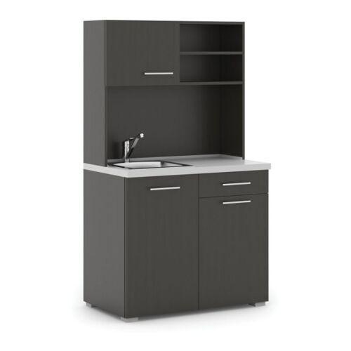 B2B Partner Büroküche primo, spülbecken, mischbatterie, 1/2 tür, wenge