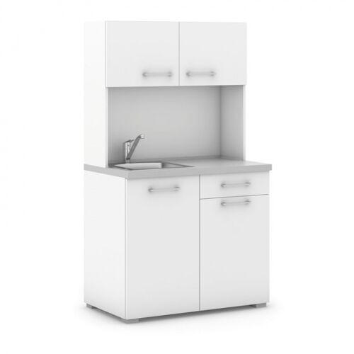 B2B Partner Büroküche primo mit spülbecken und mischbatterie, weiß