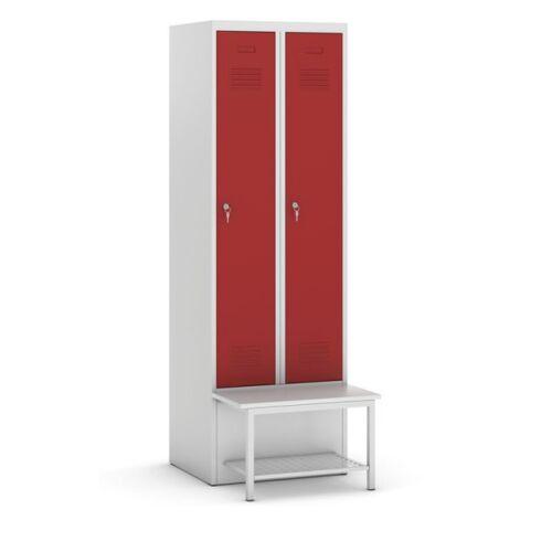 KOVOS Metallkleiderschrank mit sitzbank und regal, rote tür, zylinderschloss