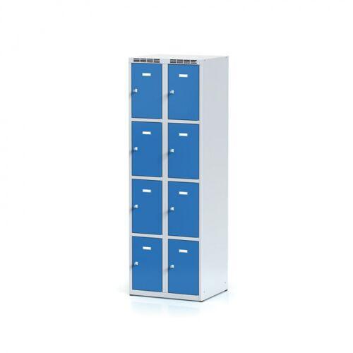 Alfa 3 Schließfachschrank, 8 abteile, blaue tür, drehriegelschloss