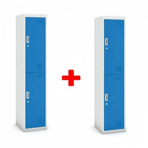 B2B Partner Zweitüriger schrank, 1800 x 380 x 450 mm, grau/blau, 1+1 gratis