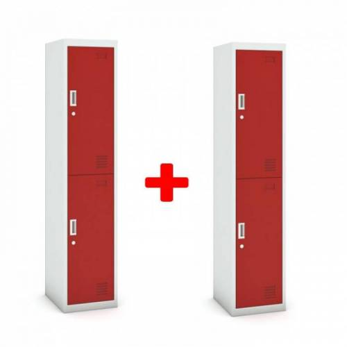B2B Partner Zweitüriger schrank, 1800 x 380 x 450 mm, grau/rot, 1+1 gratis