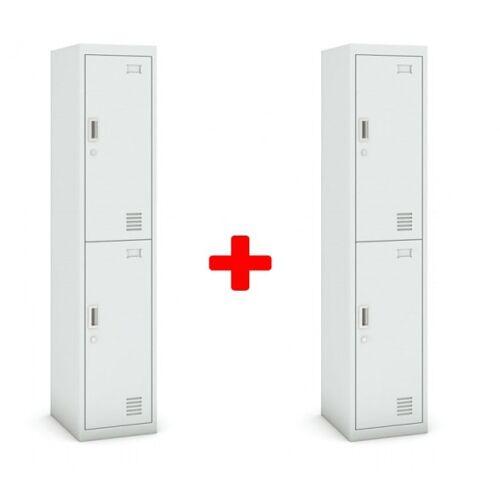 B2B Partner Zweitüriger schrank, 1800 x 380 x 450 mm, grau/grau, 1+1 gratis