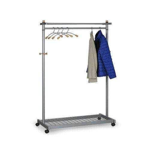 B2B Partner Mobiler kleiderständer mit kleiderbügeln, silberfarben