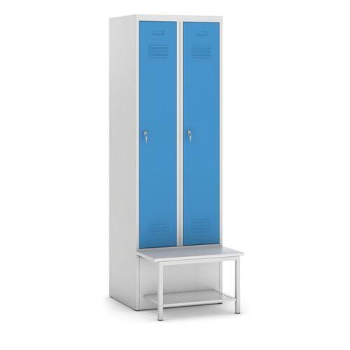KOVOS Metallkleiderschrank mit sitzbank und regal, blaue tür,