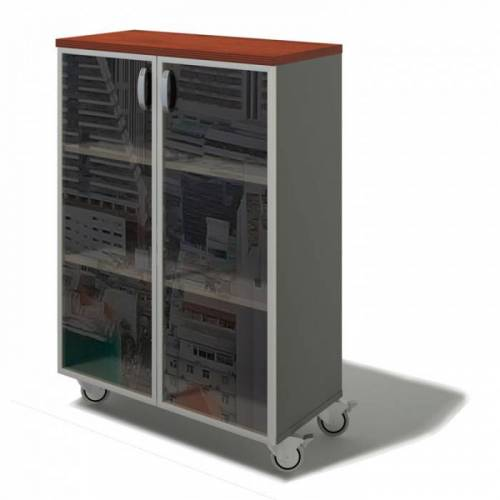 B2B Partner Büro-rolschrank bern plus - glas, 900 x 430 x 1290 mm, birke