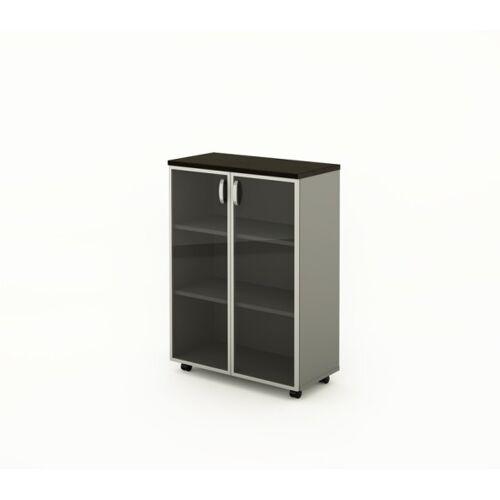 B2B Partner Büro-rolschrank bern plus - glas, 900 x 430 x 1290 mm, wenge