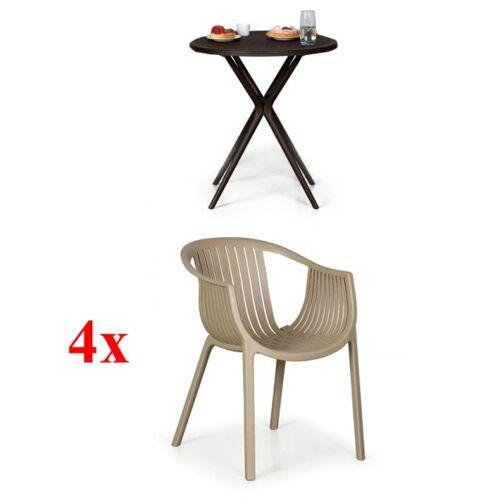 B2B Partner 4x plastikstühle lounge, beige + plastiktisch coffee time gratis