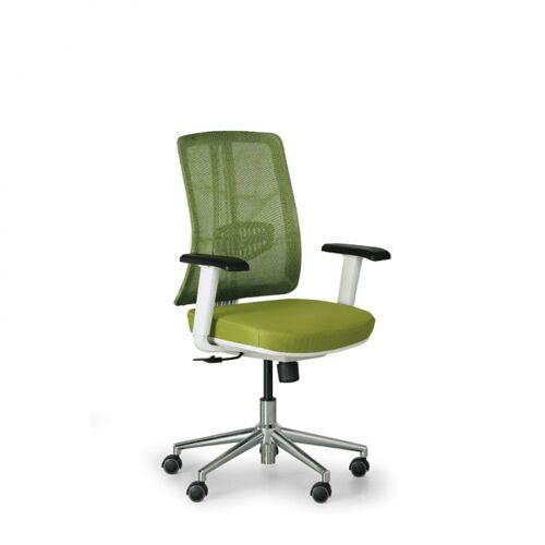 B2B Partner Bürostuhl human, weiß/grün, alukreuz