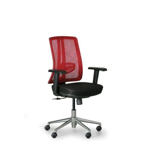 B2B Partner Bürostuhl human, schwarz/rot, stahlkreuz