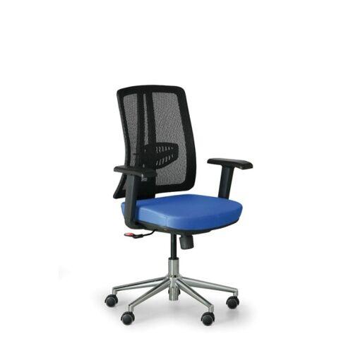 B2B Partner Bürostuhl human, schwarz/blau, stahlkreuz