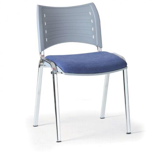 B2B Partner Kunststoffstuhl smart, kunststoff-rückenlehne, chromfüße blau