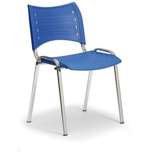B2B Partner Kunststoffstuhl smart, chromfüße, blau