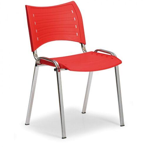 B2B Partner Kunststoffstuhl smart, chromfüße, rot