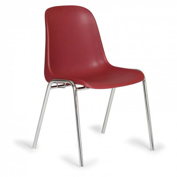 B2B Partner Esszimmerstuhl aus kunststoff elena, rot, chromfüße