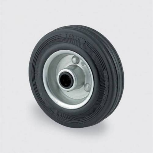 TENTE Einzelrad, metallscheibe, schwarzer gummi, 160 mm