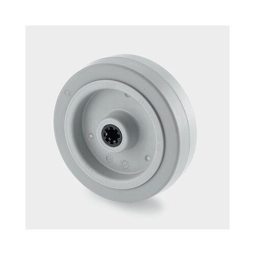 TENTE Einzelrad, kunststoffscheibe, grauer gummi, 125 mm, rollenlager