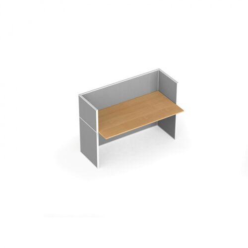 B2B Partner Tischtrennwand-set mit tisch, textil, 1 platz, birke