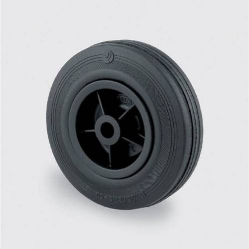 TENTE Einzelrad, kunststoffscheibe, schwarzer gummi, 200 mm
