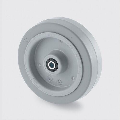 TENTE Einzelrad, kunststoffscheibe, grauer gummi, 100 mm, rollenlager