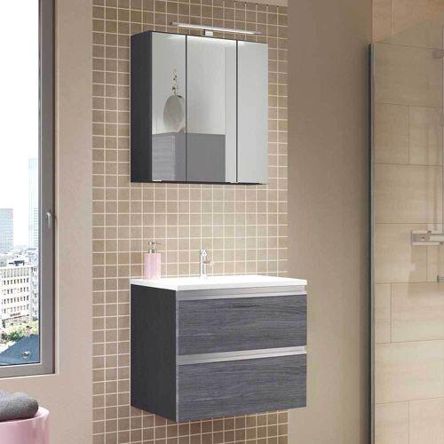 Bad Waschtisch mit Spiegelschrank Eiche Grau Optik (2-teilig)