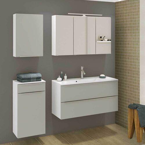Badezimmermöbel Set in Grau und Weiß 140 cm breit (4-teilig)