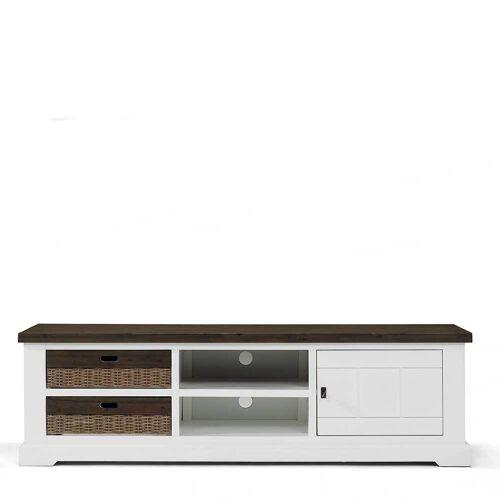 TV Board in Weiß und Grey Wash Landhausstil