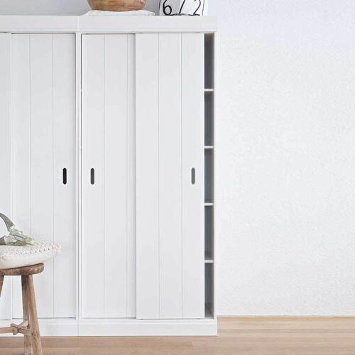Landhaus Bücherschrank in Weiß Kiefer Massivholz