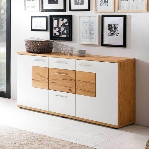 Esszimmer Sideboard in Weiß mit Eiche furniert 165 cm