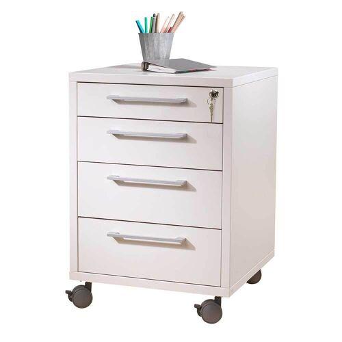 Schreibtisch Rollcontainer in Weiß mit Schloss