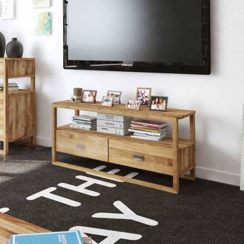 TV Tisch aus Wildeiche Massivholz 125 cm